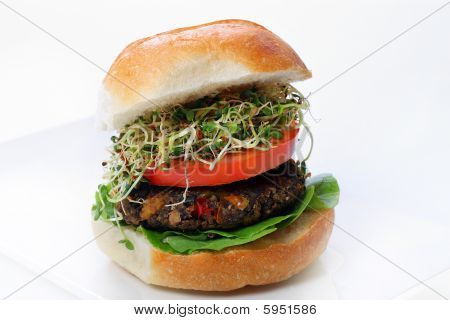 Mushroom Veggie Burger With Sprouts