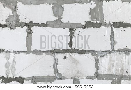 White Wall Made Of Aerated Concrete Blocks, Background Texture