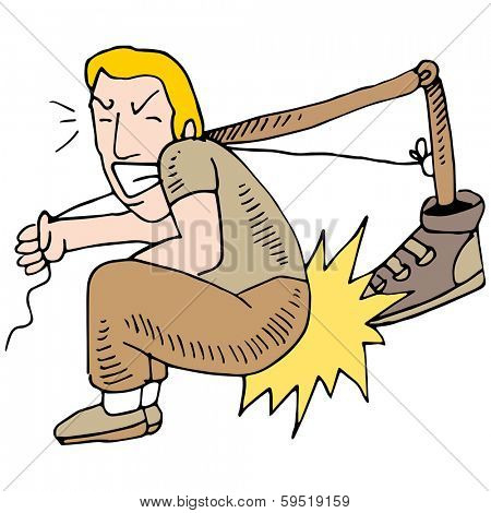 An image of a man kicking himself.