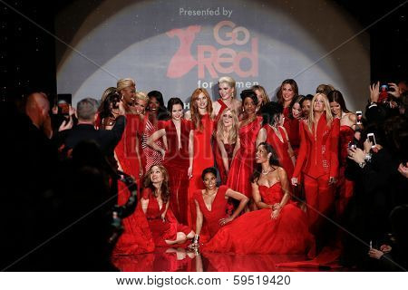 NEW YORK-FEB 6: Celebrities on runway at Go Red for Women-The Heart Truth Red Dress Collection fashion show during Mercedes-Benz Fashion Week at Lincoln Center on February 6, 2014 in New York City.