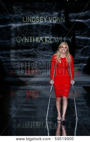 NEW YORK-FEB 6: Lindsey Vonn wears Cynthia Rowley on the runway at The Heart Truth Red Dress Collection show during Mercedes-Benz Fashion Week at Lincoln Center on February 6, 2014 in New York City.