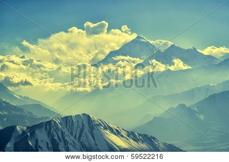 Mountain peaks in a soft light