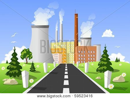 Vector Illustration Of Power Plant