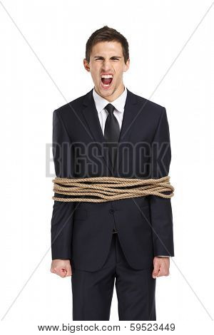 Portrait of screaming businessman tied with the rope, isolated on white. Concept of slavery and violence