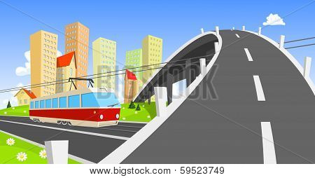 Streetcar Coming Under The Bridge