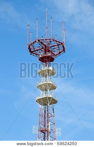 Telecommunications Antenna against blue sky