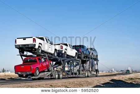 Big Truck With Car-hauling Trailer