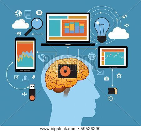 Man in the network information space. Network concept. Abstract illustration of man, computer, tablet, phone and interface icons. Business technology