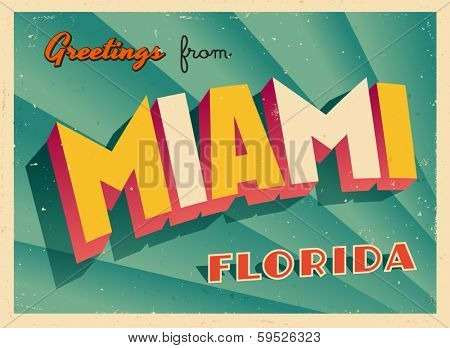Vintage Touristic Greeting Card - Miami, Florida - Vector EPS10. Grunge effects can be easily removed for a brand new, clean sign.