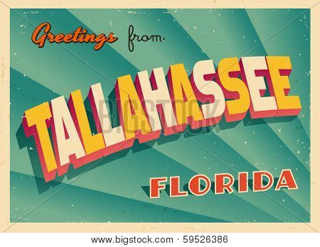 Vintage Touristic Greeting Card - Tallahassee, Florida - Vector EPS10. Grunge effects can be easily removed for a brand new, clean sign.