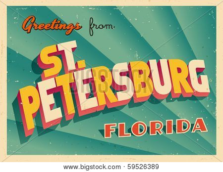 Vintage Touristic Greeting Card - St. Petersburg, Florida - Vector EPS10. Grunge effects can be easily removed for a brand new, clean sign.