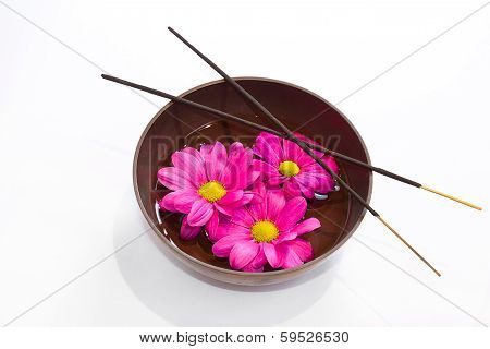 Tibetan Bowl, Incense Sticks And Flowers In Oil.