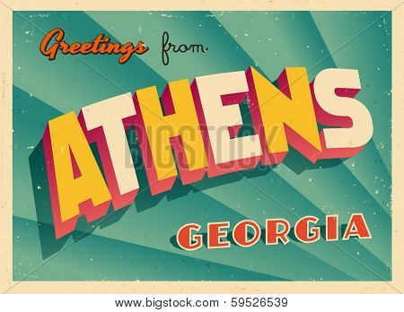 Vintage Touristic Greeting Card - Athens, Georgia - Vector EPS10. Grunge effects can be easily removed for a brand new, clean sign.