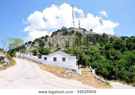 The transmitter and the monasteries of Mount Pantokrator, Corfu island, Greece, Europe
