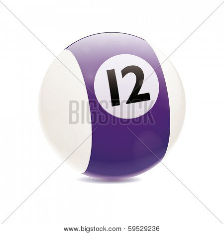 Hyperrealistic Billiard Ball. Detailed vector illustration of purple number 12 cue sports ball isolated on white