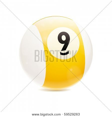 Hyperrealistic Billiard Ball. Detailed vector illustration of yellow number 9 cue sports ball isolated on white