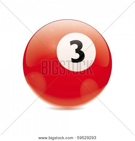 Hyperrealistic Billiard Ball. Detailed vector illustration of red number 3 cue sports ball isolated on white