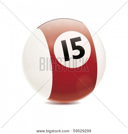 Hyperrealistic Billiard Ball. Detailed vector illustration of brown number 15 cue sports ball isolated on white