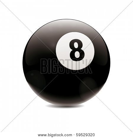 Hyperrealistic Billiard Ball. Detailed vector illustration of black number 8 cue sports ball isolated on white