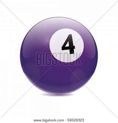 Hyperrealistic Billiard Ball. Detailed vector illustration of purple number 4 cue sports ball isolated on white