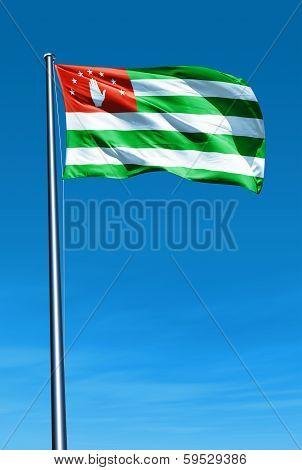 Abkhazia flag waving on the wind