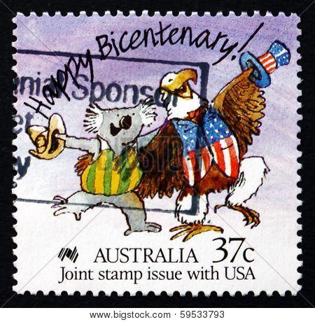 Postage Stamp Australia 1988 Caricature Of Koala And Bald Eagle
