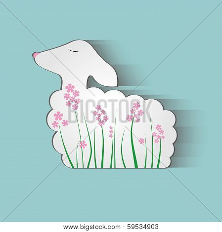Lamb Flowers Background Sheep Illustration