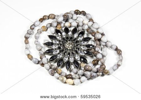 Closeup Arrangement Of Costume Jewelry And Beads