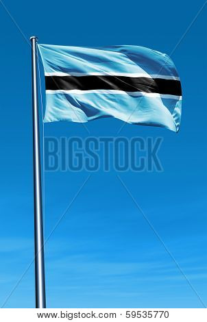 Botswana flag waving on the wind