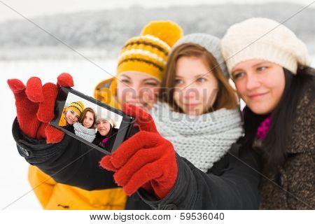 Ladies Taking Winter Selfie
