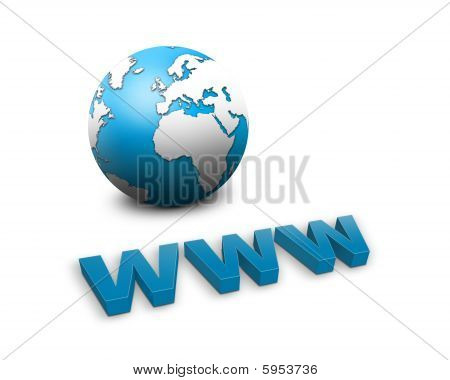 www and a world globe