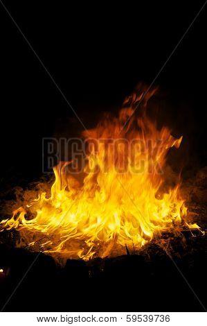Ritual Fire At Night