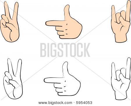 Set of people hands with gestures