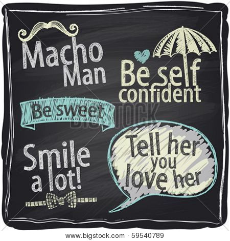 How to be a macho man. Quote typography chalkboard background.
