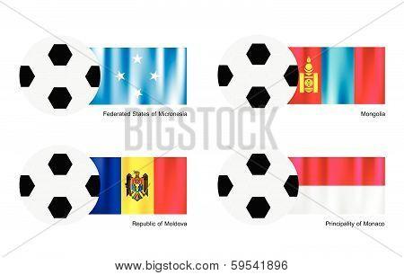 Soccer Ball With Micronesia, Mongolia, Moldova And Monaco Flag