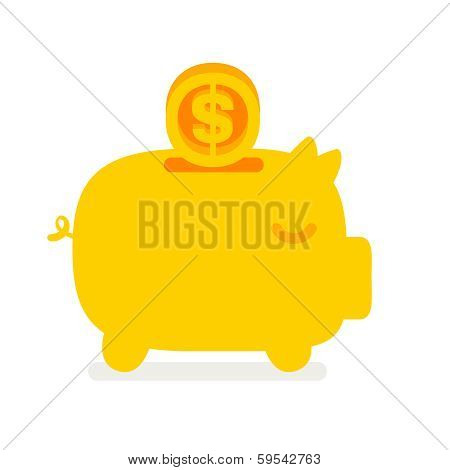 Piggy Bank With Flying Coin