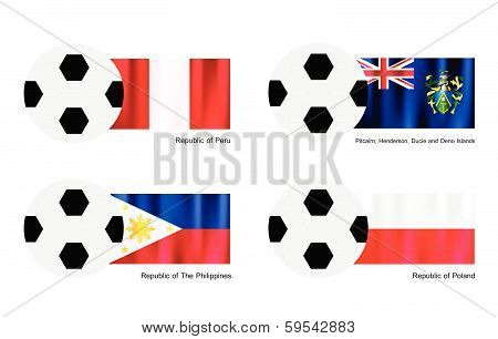 Soccer Ball With Peru, Pitcairn Islands, Philippines And Poland Flag