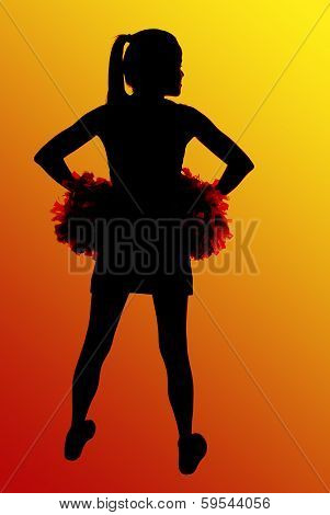 Silhouette Of High School Cheerleader Hands On Hips