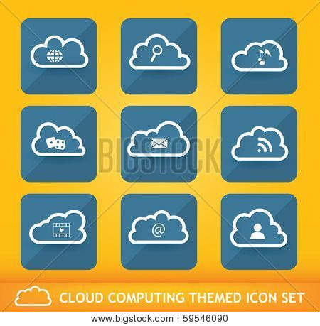 Collection of nine cloud network themed icons