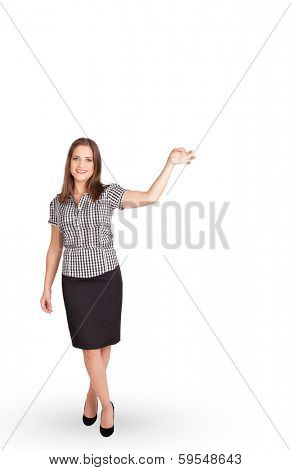 Beautiful young lady gesturing with copy space