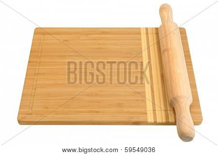 breadboard and rolling pin isolated on a white background