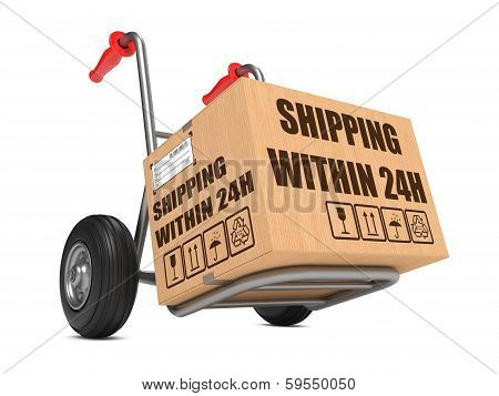 Shipping within 24h - Cardboard Box on Hand Truck.