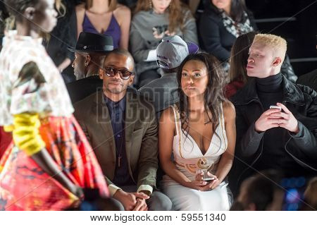 NEW YORK-FEB 7: (L-R) Eric West, Tashiana Washington and Shaun Ross attend the Academy of Art University show during Mercedes-Benz Fashion Week at Lincoln Center on February 6, 2014 in New York City.