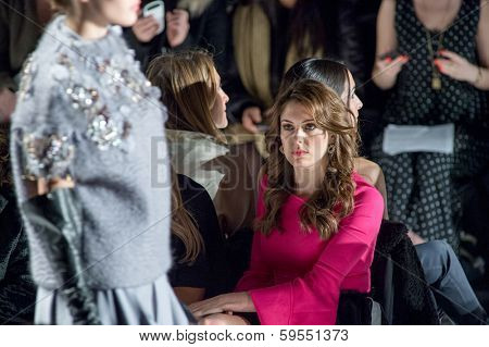 NEW YORK-FEB 7: Miss USA Erin Brady (R) attends the Academy of Art University fashion show during Mercedes-Benz Fashion Week at The Theatre at Lincoln Center on February 6, 2014 in New York City.