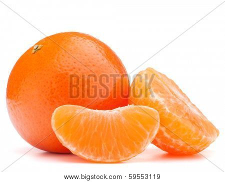 tangerine or mandarin fruit isolated on white background cutout