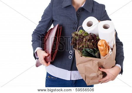 Businesswoman Grocery Shopping