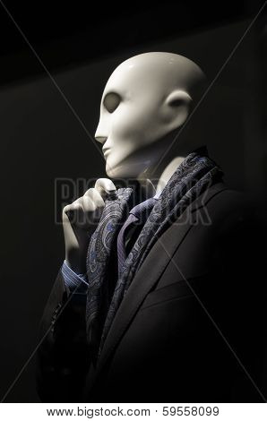 Mannequin In Black Suit & Purple Tie