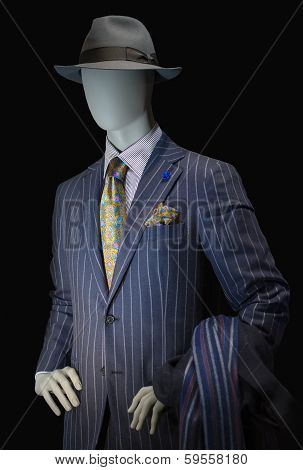Mannequin In Striped Suit And Hat