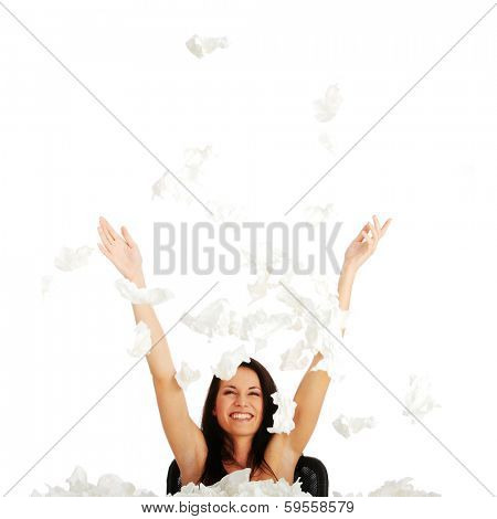 Woman winning with sickness - throwing tisues with big smile