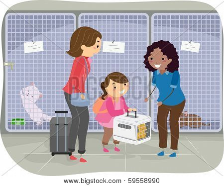 Illustration of a Girl and Her Mom Handing Over a Cat in a Cattery